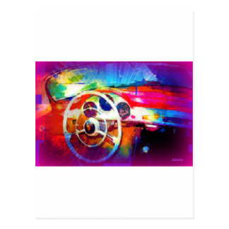 Sports Car Steering Wheel Post Card