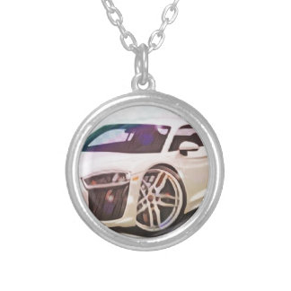 sports cars machine silver plated necklace