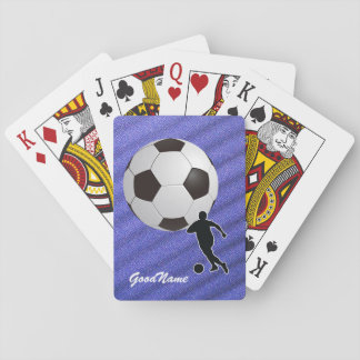 Sports Enthusiast Soccer, personalise with name Playing Cards