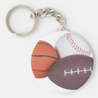 Sports Fan Gifts Basketball Baseball Football Basic Round Button Key Ring