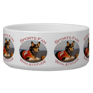 Sports Fan with Attitude Dog Water Bowl