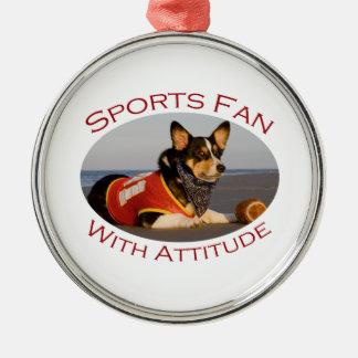 Sports Fan with Attitude Silver-Colored Round Decoration