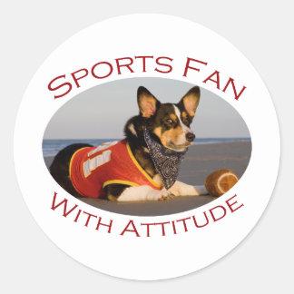 Sports Fan with Attitude Round Sticker