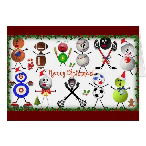 Sports Filled Merry Christmas Cards