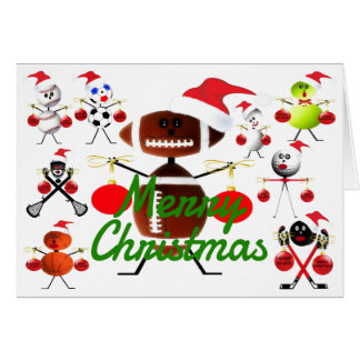Sports Filled Merry Christmas Cartoons Card