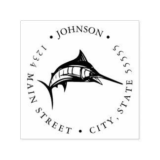 Sports Fishing Blue Swordfish Jumping Return Label Self-inking Stamp