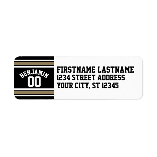 Sports Jersey Black and Gold Stripes Name Number Return Address Label
