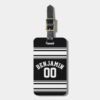 Sports Jersey Black and White Stripes Name Number Bag Tag
