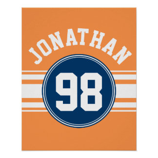 Sports Jersey Blue and Orange Stripes Name Number Poster