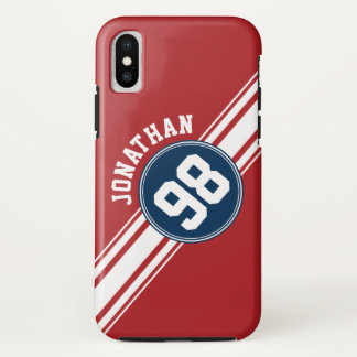 Sports Jersey Navy Blue & Red Stripes Name Number iPhone X Case