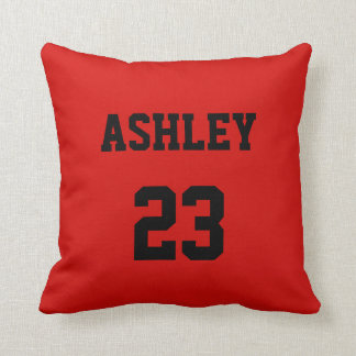 Sports Jersey Number and Name Red Personalized Cushion