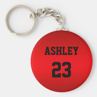 Sports Jersey Number and Name Red Personalized Key Ring
