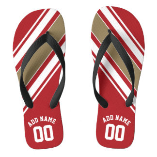 Sports Jersey Red and Gold Stripes Name Number Thongs