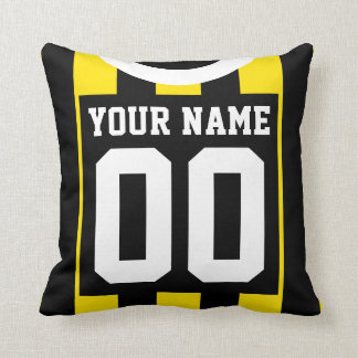 Sports Jersey Style Black and Gold Stripes Pillow