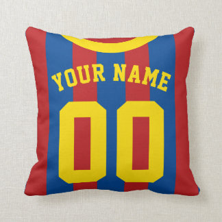 Sports Jersey Style Red & Blue Stripes Pillow