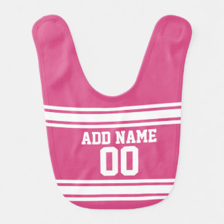 Sports Jersey with Name and Number - Pink White Bib
