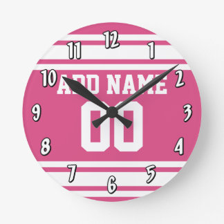 Sports Jersey with Name and Number - Pink White Wallclocks