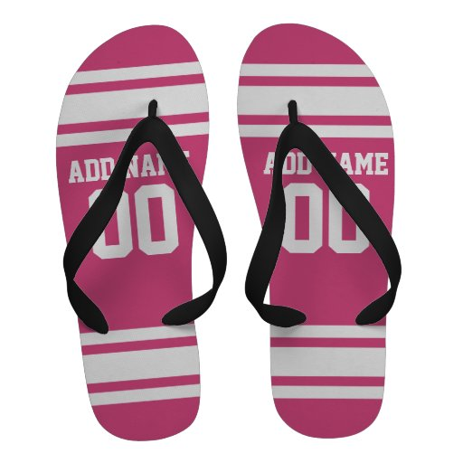 Sports Jersey with Name and Number - Pink White Flip-Flops