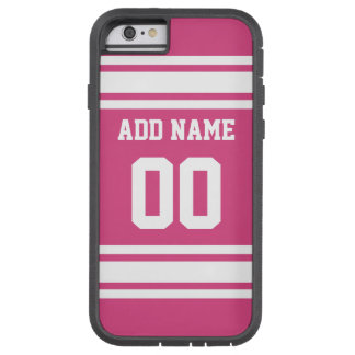 Sports Jersey with Name and Number - Pink White Tough Xtreme iPhone 6 Case