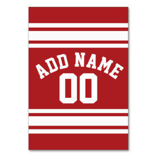 Sports Jersey with Your Name and Number Table Cards