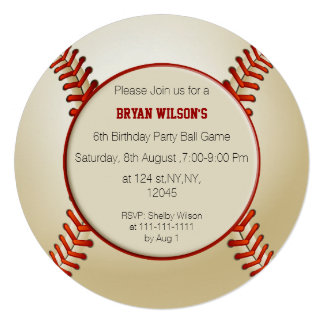 Sports Party Baseball theme Personalized Invites