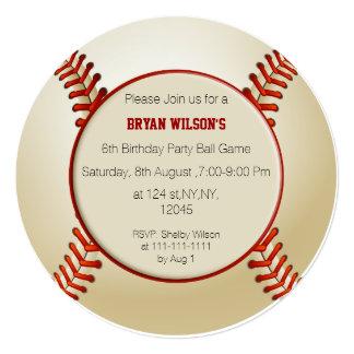 "Sports Party Baseball theme Personalized Invites 5.25"" Square Invitation Card"