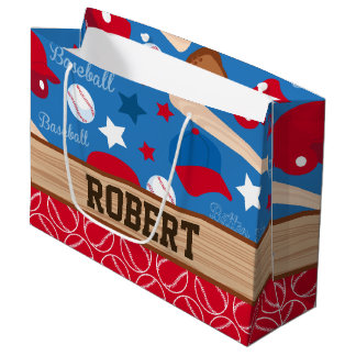 SPORTS Personalise Name Baseball Fan Fun Pattern Large Gift Bag