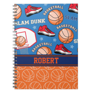 SPORTS Personalised Name Basketball Fan Pattern Notebook