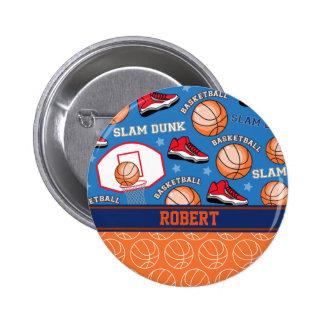 SPORTS Personalize Name Basketball Fan Fun Pattern 6 Cm Round Badge