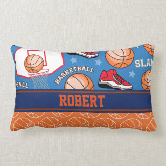 SPORTS Personalize Name Basketball Fan Fun Pattern Lumbar Pillow