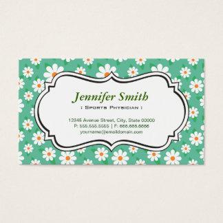 Sports Physician - Elegant Green Daisy Business Card