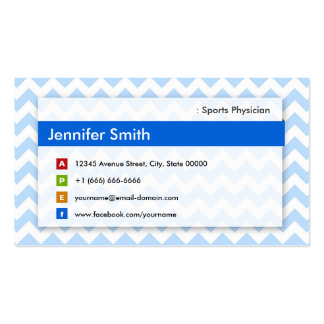 Sports Physician - Modern Blue Chevron Business Card