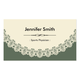 Sports Physician - Retro Chic Lace Business Card Template