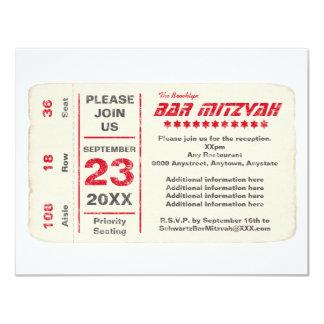 Sports Star Bar Mitzvah Reception Card, Red 11 Cm X 14 Cm Invitation Card