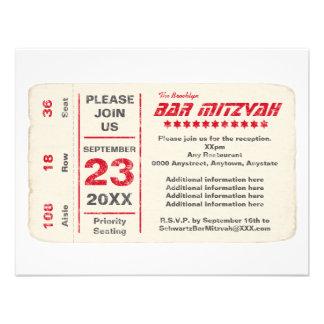 Sports Star Bar Mitzvah Reception Card Red Custom Invites