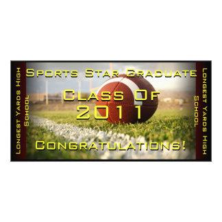 Sports Star (Football) - Graduation Card Personalized Photo Card