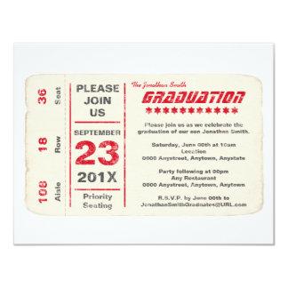Sports Star Ticket Graduation, Red 11 Cm X 14 Cm Invitation Card