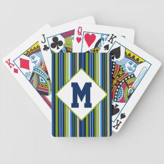 Sports Stripe Blue and Green Poker Deck