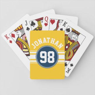 Sports Stripes Navy Blue & Yellow Name Number Playing Cards