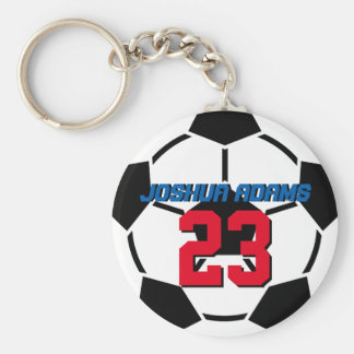 Sports Team Black White Soccer Ball Keychain
