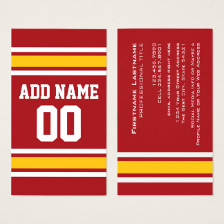 Sports Team Football Jersey Custom Name Number Business Card