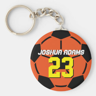 Sports Team Orange Soccer Ball Keychain