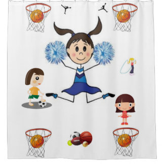 Sports teenager and girls shower curtain