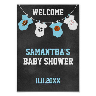 Sports Theme Chalkboard Blue Boy Baby Shower Poster