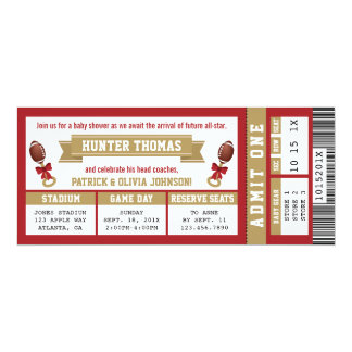 Sports Ticket Baby Shower Invite Scarlet, Gold