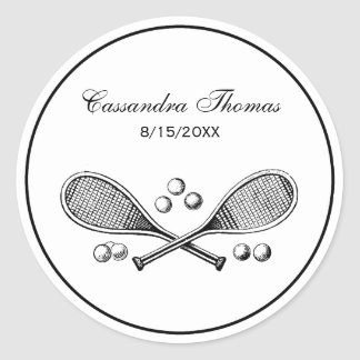 Sports Vintage Crossed Tennis Rackets Tennis Balls Classic Round Sticker