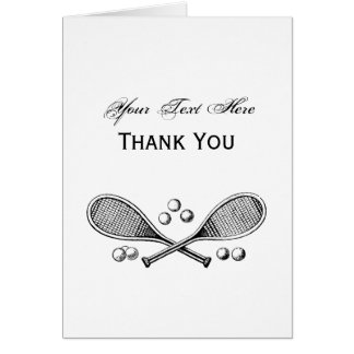 Sports Vintage Crossed Tennis Racquet Tennis Balls Card