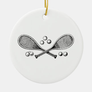 Sports Vintage Crossed Tennis Racquet Tennis Balls Ceramic Ornament