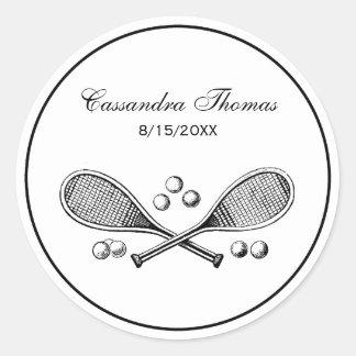 Sports Vintage Crossed Tennis Racquet Tennis Balls Classic Round Sticker