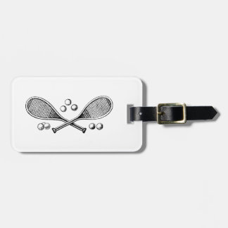 Sports Vintage Crossed Tennis Racquet Tennis Balls Luggage Tag